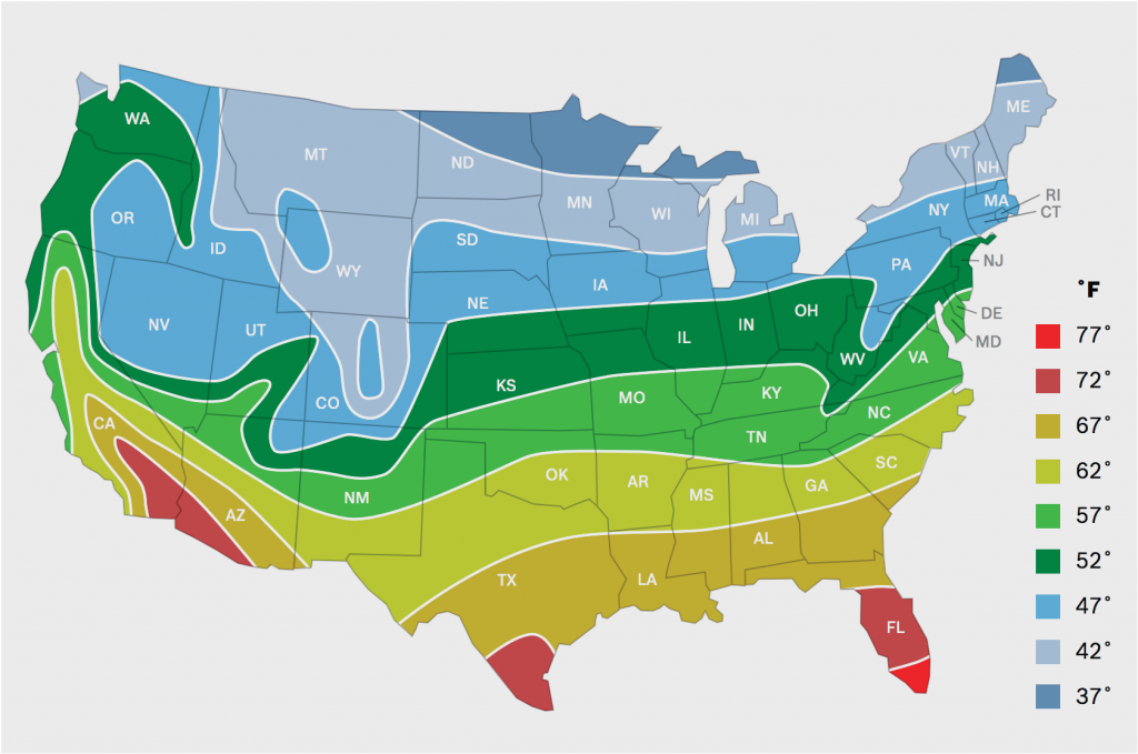 Average Ground Water Temperatures for the Continental United States